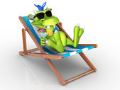 Cute cartoon monster relaxing in a beach chair. — Stock Photo