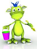 Cute cartoon monster holding a bucket and a spade. — Stock Photo
