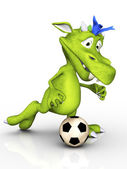 Cute cartoon monster playing soccer. — Stock Photo