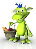 Cute cartoon monster holding a picnic basket. — Stock Photo