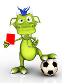 Cartoon monster as soccer referee. — Stock Photo