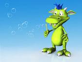 Cute cartoon monster blowing soap bubbles. — Stock Photo