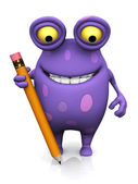 A spotted monster holding a large pencil. — Stok fotoğraf