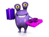 A spotted monster holding two birthday gifts. — Stock Photo
