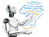 Male robot with technology theme word cloud. — Stock Photo