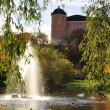 Fountain lake in autumn — Stock Photo