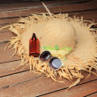 Straw Hat, Sun Glasses, Sun Block - 