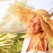 Young woman at tropical resort — Stock Photo