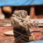 Wooden block on a vintage yacht — Stock Photo