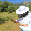 Foto Stock: Bee keeper with bee colony