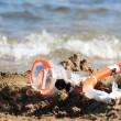 Mask and tube on the beach — Stock Photo