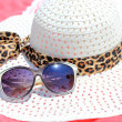 Straw Hat, Sun Glasses, Sun Block - Foto de Stock