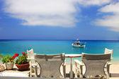 Fishing boat in the Ionian sea — Stock Photo