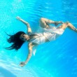 Stock Photo: Woman wearing a white dress underwater