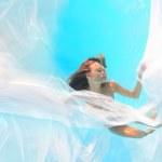 Woman white veil underwater — Stock Photo