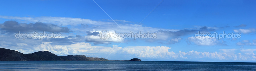 View of beach and clouds in Zakynthos Greece  Stock Photo #13511174