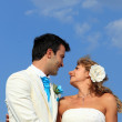 Young couple at their beach wedding — Foto de Stock