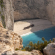 The famous Navagio beach - Stock Photo
