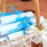 Handmade wedding invitations — Stock Photo