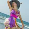 woman auf der beach — Stockfoto