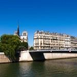 Notre Dame de Paris, view across the Seine River — Stock Photo #16895781