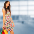 A shot of a woman shopping outdoor - Stockfoto