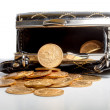 Female purse with gold coins - Stock Photo