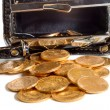 Female purse with gold coins  — Stock Photo