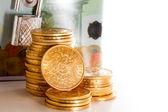 Euro money box gold coins — Stock Photo