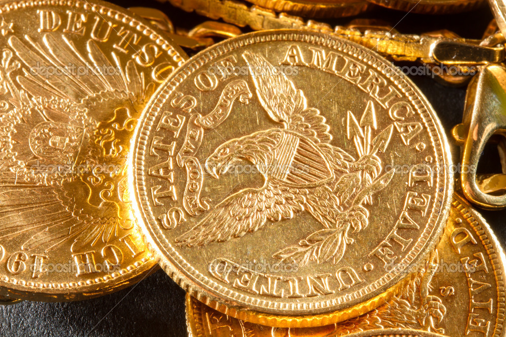 Five Dollars gold coins USD — Stock Photo #17381163