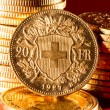 Stock Photo: Twenty Swiss Francs coins