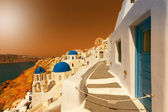 Santorini - view of caldera with churches — Stock Photo