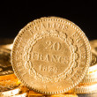 Stock Photo: Twenty French Francs coins