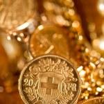 Twenty Swiss Francs coins — Stock Photo