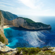The famous Navagio beach in Zakynthos - Stock Photo