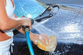 Car washing on open air — Stock Photo