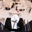 Fancy table set for a wedding — Stock Photo