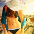 Attractive girl in Santorini Greece — Stock Photo