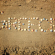 Stock Photo: Inscription on sand