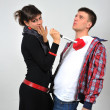 Foto Stock: Couple with red heart and knife