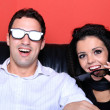 Couple at home watching a 3D movie — Stock Photo