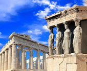 Caryatids, erechtheion temple Acropolis — Stock Photo