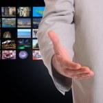 Businessman over perspective screen wallpaper — Stock Photo