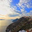 Santorini sunset Greece - Stock Photo