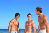Three Young Men Relaxing On the Beach — Stock Photo