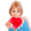 Stock Photo: Woman holding Valentines Day heart