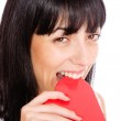 Woman holding a red heart — Stock Photo