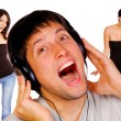 Man is listening to the music - Stock Photo