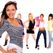 Girl group isolated — Stock Photo