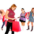 Stock Photo: Small group shopping girl